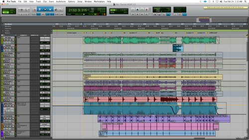 Edit window screen shot of the top of the Pro Tools session of 'The Charade.' The complete screen shots are below...