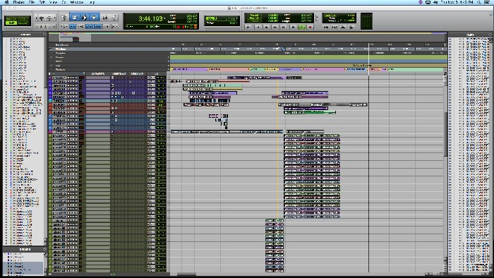 """33_God_"" edit window showing loads of piano tracks"