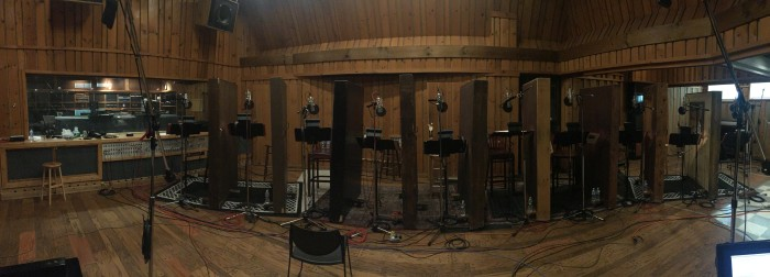 Vocal ensemble recording set-up at Avatar