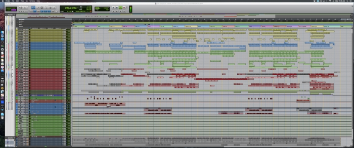 "An overview of the edit window of Gudwin's ""Despacito"" mix session"